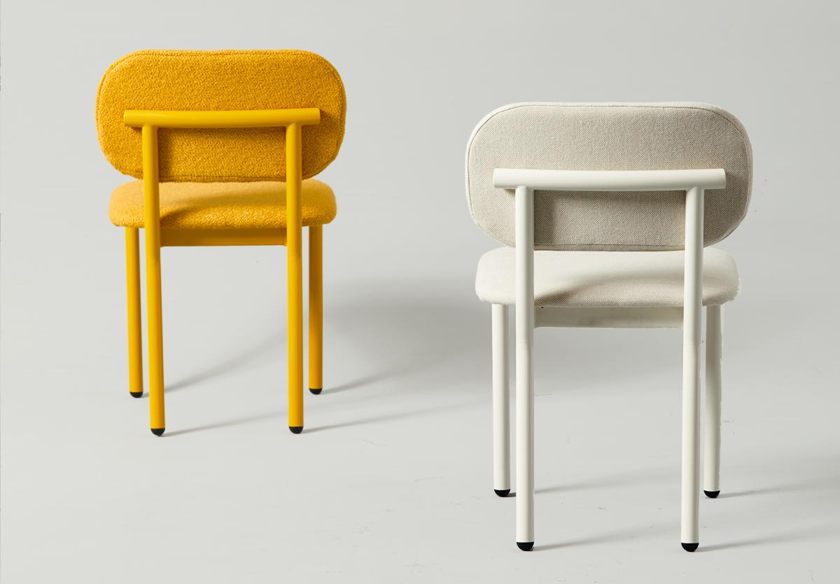 Ferdinand Chair with Yellow Boucle and white maharam fabric