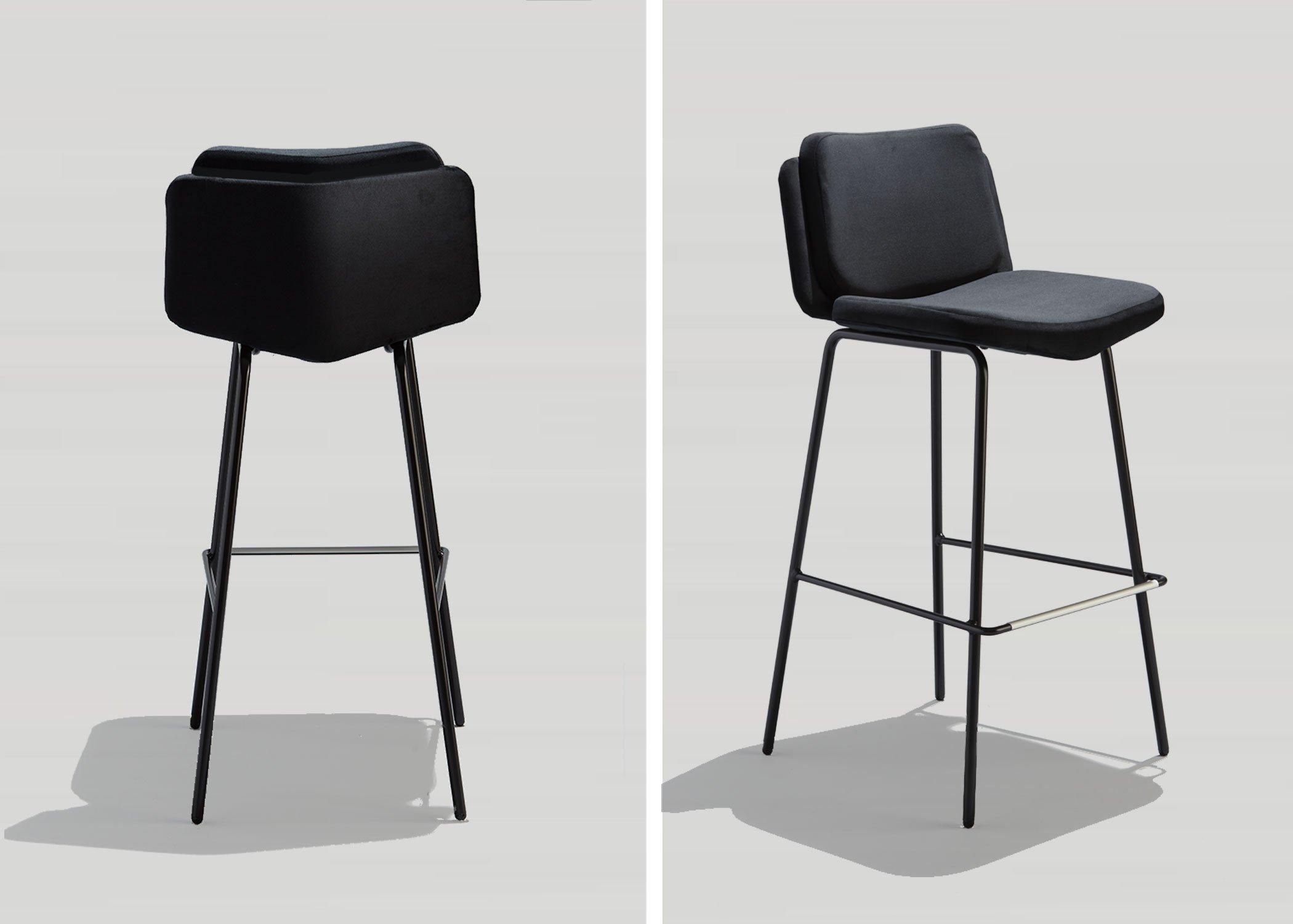 Modern Upholstered Bar Stool with Black Velvet Seat and Back