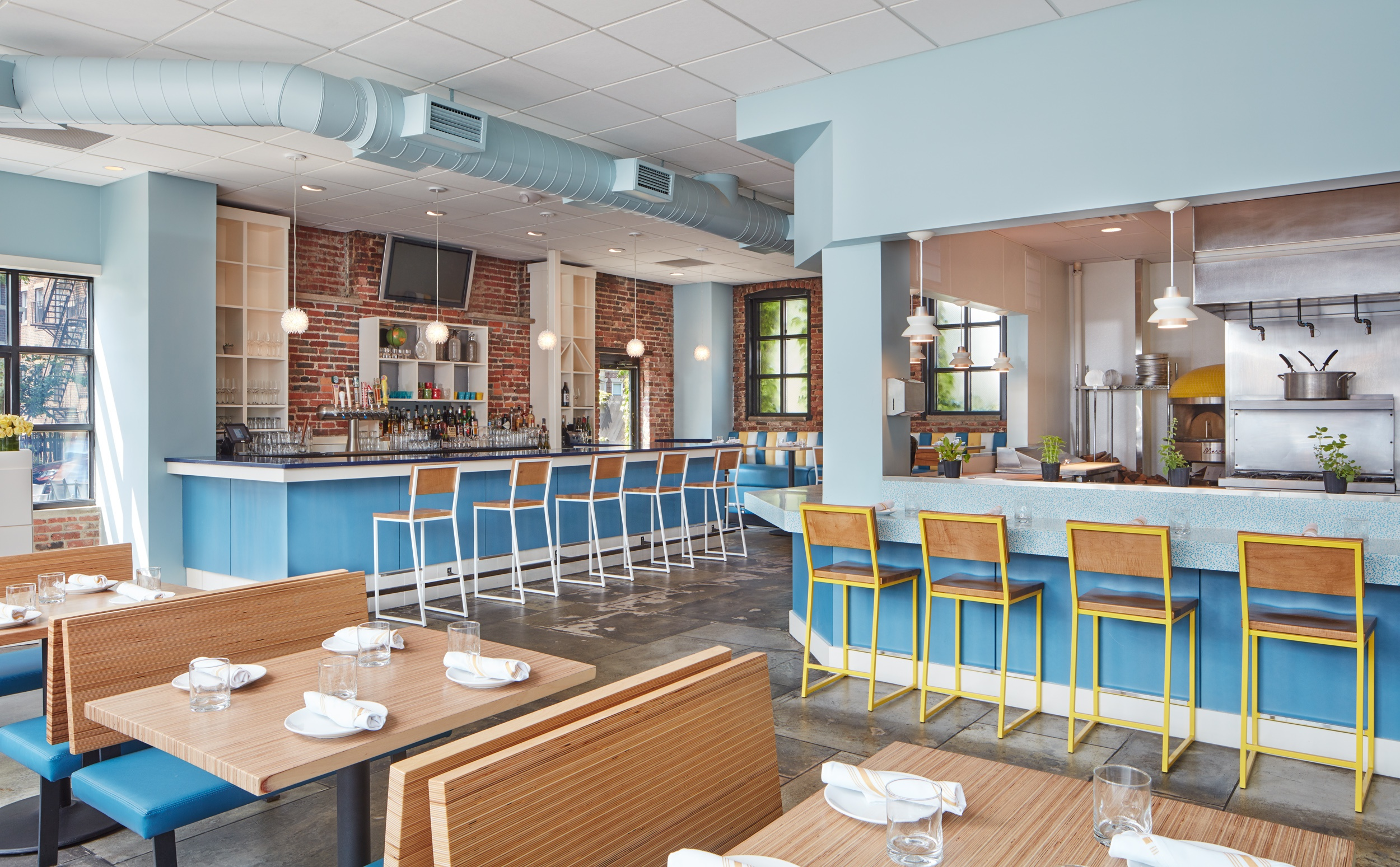 Tapestry colorful restaurant design