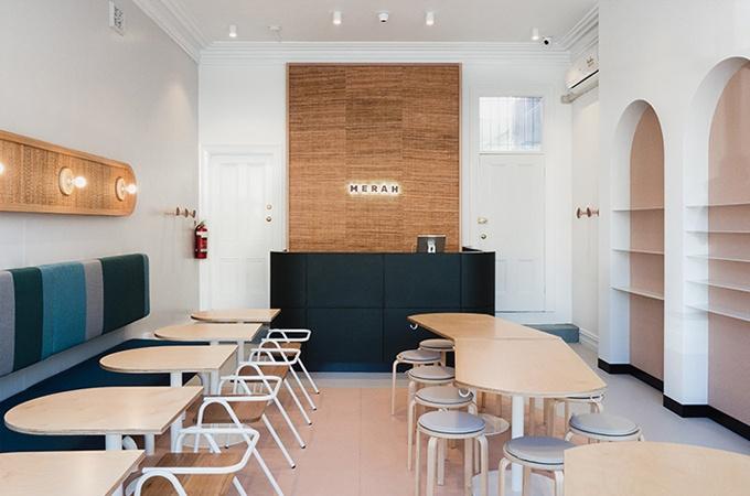 modern restaurant design featuring Half Hurdle Chair