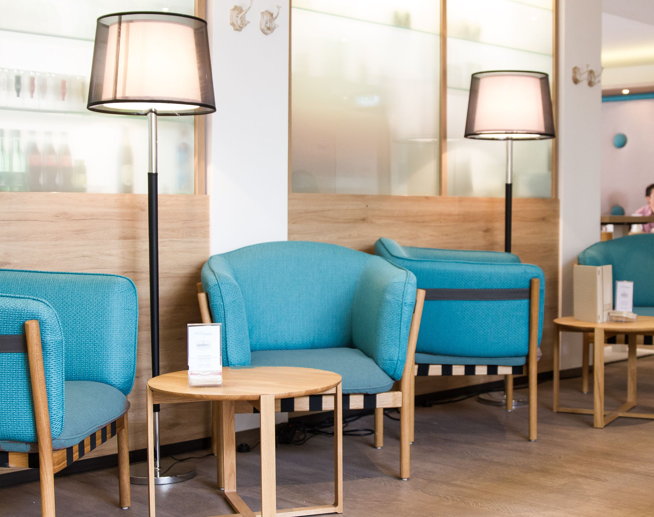 Dowel Lounges installed at Herbert's Cafe in Vienna.