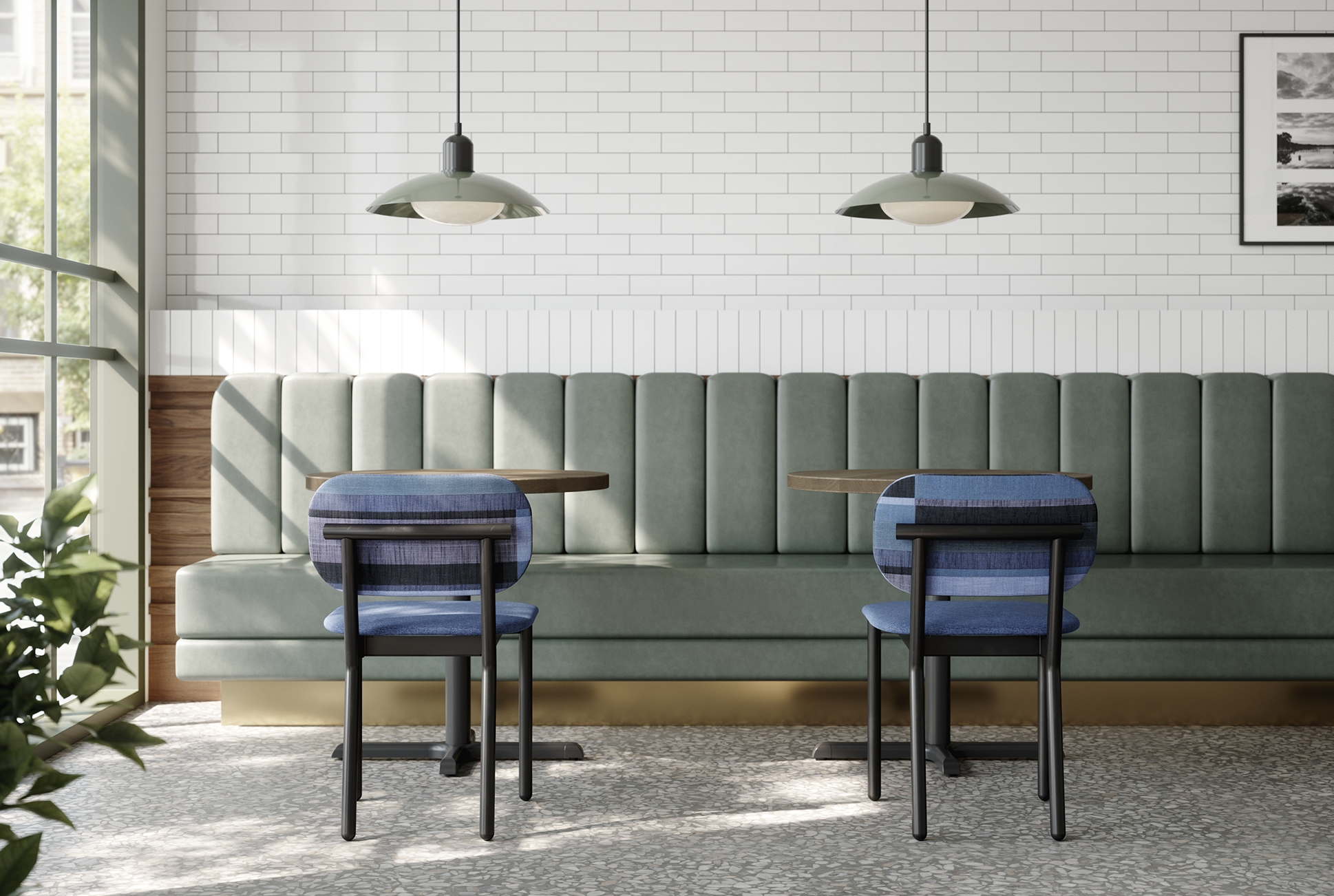 Ferdinand Upholstered chairs in Luum Structured Stripe fabric and black frame.