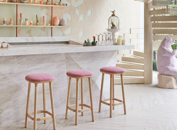 Pink backless barstools