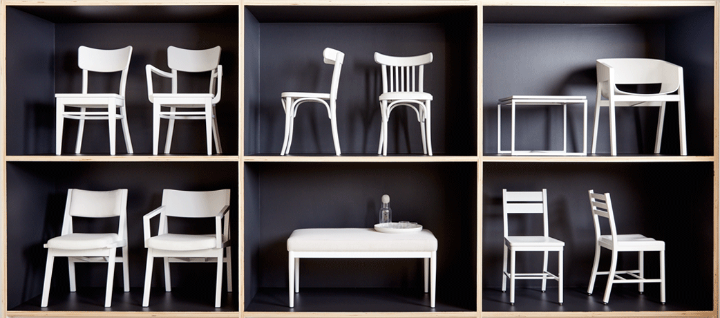 Classic black and white restaurant chairs on display