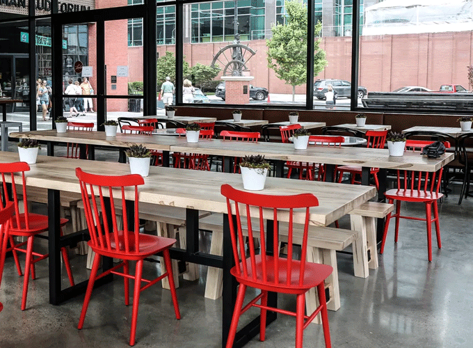 Red Windsor Chair in a Restaurant