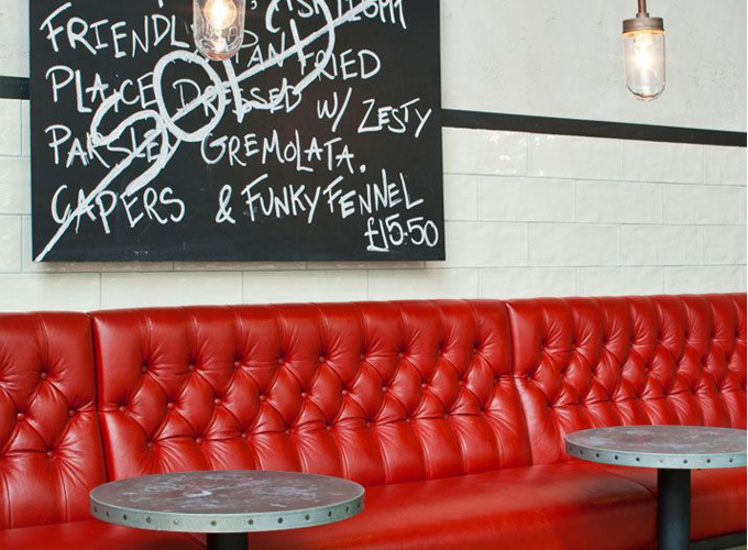 red vinyl banquette