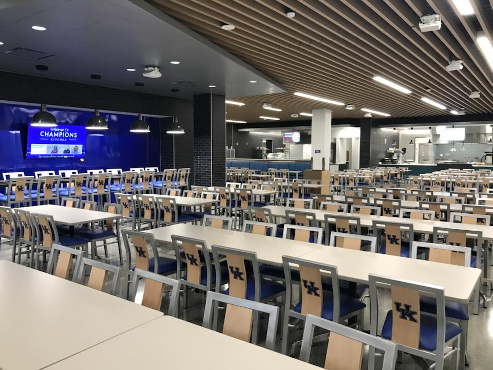 Custom university dining chairs at University of Kentucky cafeteria