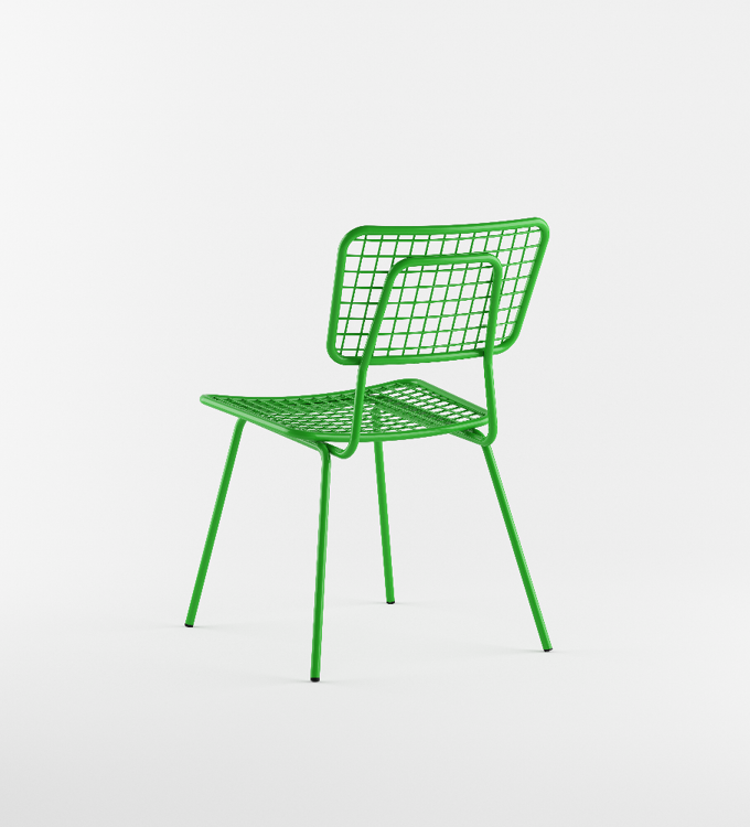 Back view of green outdoor chair called Opla