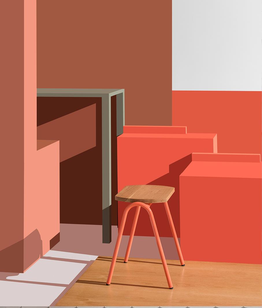 hurdle low stool in orange with white oak seat