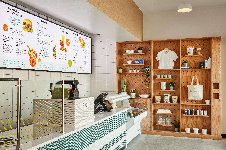 merch wall in modern diner
