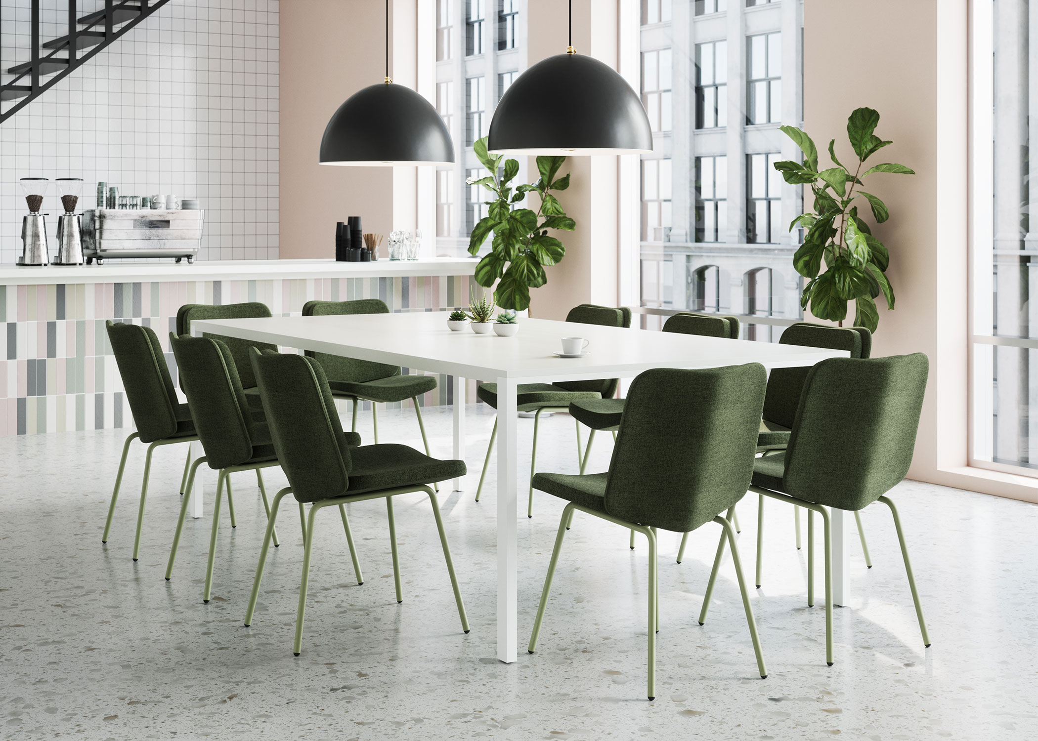 Modern Dining Chairs in Dark Green Around  a Communal Table at Trendy Coffee Shop